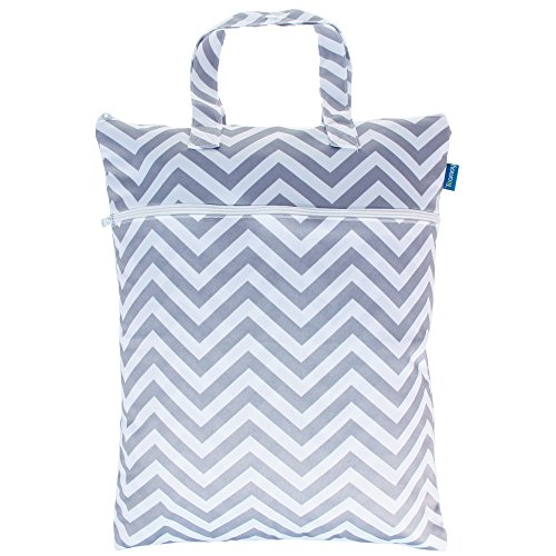 Teamoy Wet Dry Bag, Travel Diaper Organiser with Handle, Double Zipper Compartments for Baby's Nappies, Wet/Dirty/Soiled Clothes, Washable and Reusable, (17.3×13.4 inches), Grey Chevron