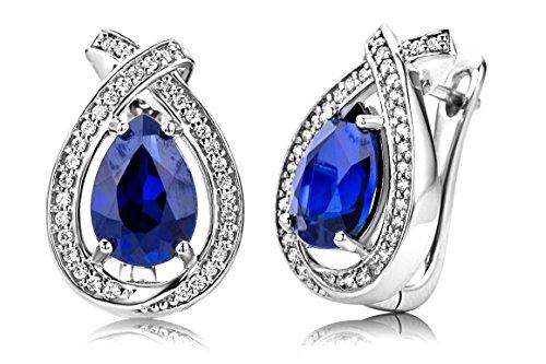 ByJoy Orecchini Donna Clips con Zaffiro blu e Zirconi taglio Brillante in Argento Sterling 925