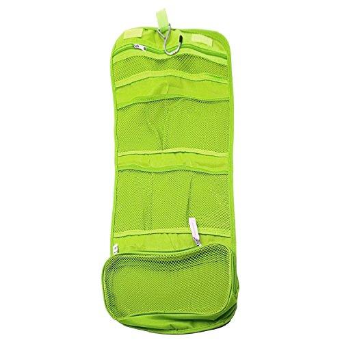Gosear® Toile portable sac cosmétique cosmétiques maquillage étui stockage pochette sac de voyage avec crochet vert