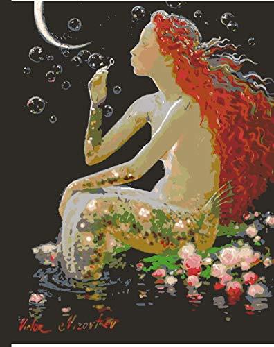 FGHJSF Pintura por números Sirena Verde Pintura al óleo de Bricolaje con Pinceles y Pinturas para Adultos Niños Pintura DIY Conjunto Completo de Pinturas para el Hogar -40x50 cm (Sin Marco)