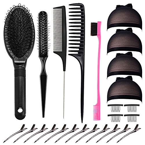 25 Pieces Hair Brush Hair Combs Professional Brush Combs for Wig,Includes Airbag Massage Comb Wide Tooth Hair Comb Hair Edge Brush Wig Clips for Curly Straight Hair and Long Short Wigs and Human Hair