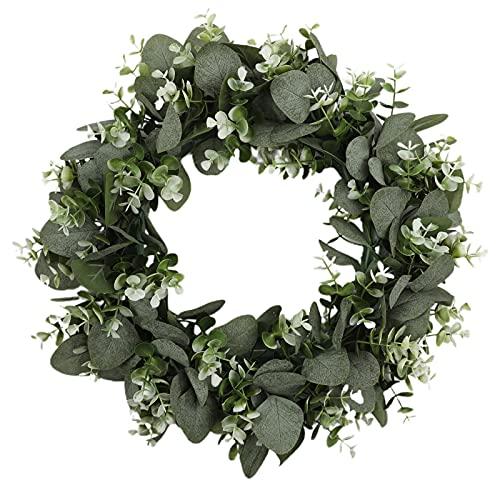 BYHUACN Corona de eucalipto artificial, corona de seda falsa para colgar en la pared, corona de hojas verdes, para interiores y exteriores, decoración del hogar, boda, fiesta