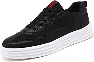 XUJW-Shoes, Skate Sneakers for Men Cozy Breathable Mesh Upper Fashion Casual Sport Shoes Walking Anti-Slip Platform Lace Up Round Toe Durable Travel Classic Soft (Color : Black, Size : 8.5 UK)