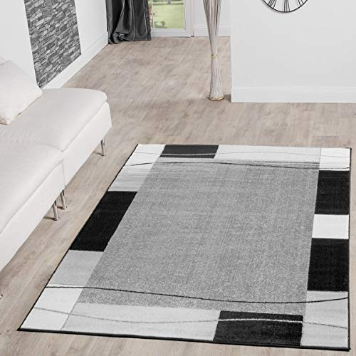 T&T Design Alfombra De Salón Moderna Económica Diseño Ribete Gris Negro Mejor...