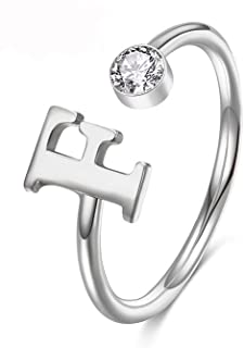 MANZHEN Personalized Silver Initial Letter Ring A-Z Stackable Ring Mother's Day Jewelry Gift