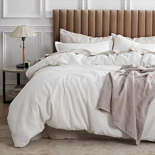 Bedsure Cotton Duvet Cover Set - 100% Cotton Waffle Weave Coconut White Duvet Cover Queen Size, Soft and Breathable Queen Duvet Cover Set for All Season (Queen, 90x90'')