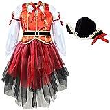 Freebily Disfraz de Pirata Vestido de Princesa con Sombrero Conjunto Cosplay Carnaval Rojo 2-3 Años