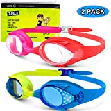 OutdoorMaster Kids Swim Goggles 2 Pack - Quick Adjustable Strap Swimming Goggles for Kids - E