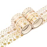 Washi Tape Set Christmas, 8 Rolls Gold Foil Pattern Cinta decorativa Enmascaramiento Scrapbooking Tape Cinta adhesiva para Navidad Decoración Festivales DIY Artesanías Envoltura de regalos