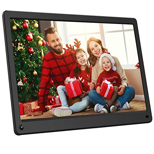Digital Photo Frame 15 inch with IPS Screen, Motion Sensor, 1920x1080, Digital Picture Frame Support 1080P Video, Music, Slideshow, Remote, Breakpoint Play, Adjustable Brightness, Auto-Rotate, Remote
