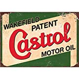 HarvesthouseOld Vintage Signs Motor Oil Outdoor Wall Plaques Wall Art, 8X12 Garage Hot Shop Bar Poster - Castrol Oil