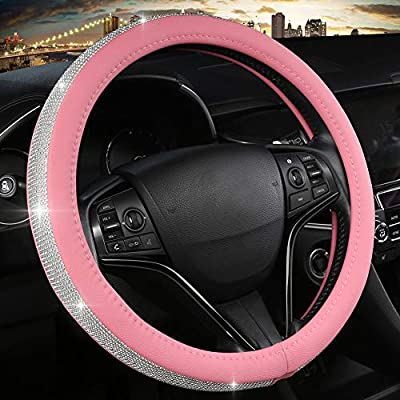 Black Panther Bling Bling Car Steering Wheel Cover for Women Girls, Glitter Leather Crystal Rhinestones Steering Wheel Protector Universal Fit 15 Inches - Pink