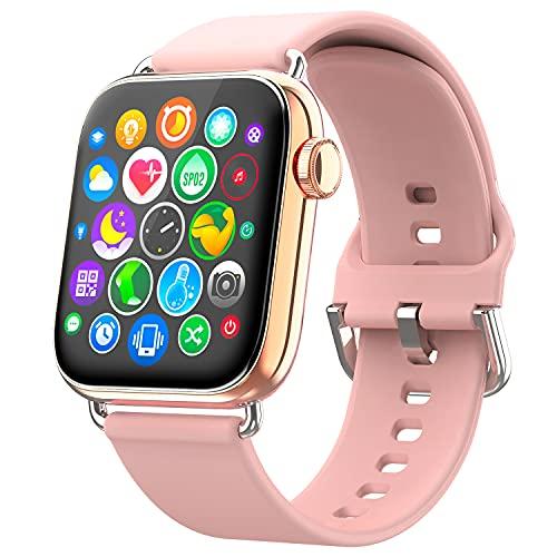 Ezanaki Smartwatch, 1.69' Reloj Inteligente con Monitor de Frecuencia Cardíaca, Monitor de Sueño, Oxígeno Sanguíneo, Smart Watch IP68 Impermeable con Podómetro Caloría para Hombre Mujer (Rosa Oro)