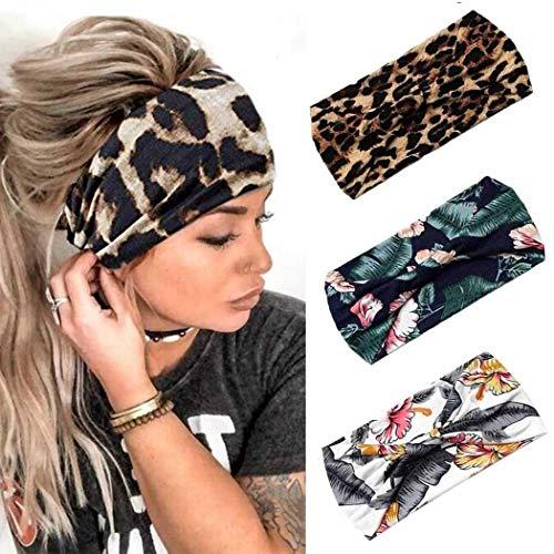 Fashband Diademas para mujer 3 piezas Boho Criss Cross Head Wrap Hair Band Turbante elástico Banda para el cabello Yoga Correr Deportes Entrenamiento Diademas para niñas. (Nueces de anacardo 1)