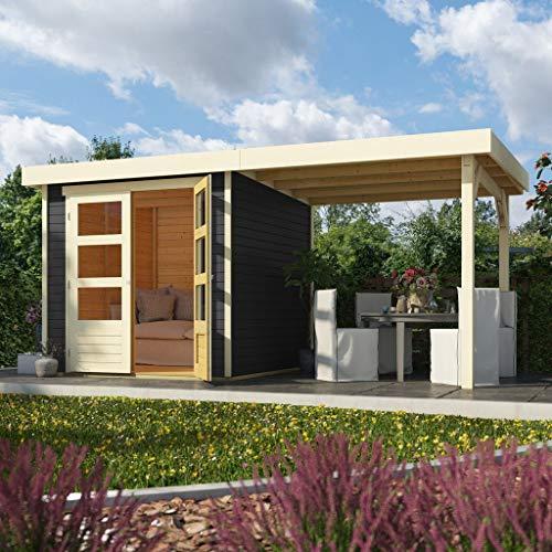 Woodfeeling 19 mm Gartenhaus Askola-2 terragrau mit 240 cm Schleppdach offen