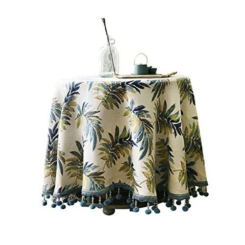 Zheyang mantel de jardín jacquard manteles de jardín bordados azul – muy adecuado para mesas de buffet, fiestas, cenas de vacaciones, bodas, etc. (tamaño: 119 cm de diámetro).
