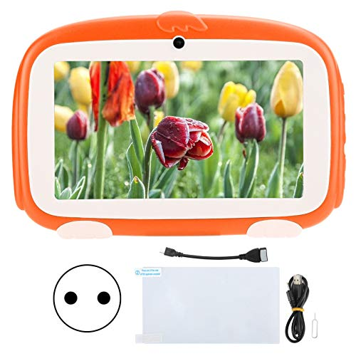 Dpofirs Kids Tablet para Google 1GB + 16GB HD para Android 9.0 Learning E-Reader 7in Naranja 100‑240V para niños Funda de Regalo a Prueba de niños(Enchufe Europeo (100-240V))