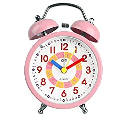DTKID Alarm Clock,Silent Non-Ticking Bedside Analog Alarm Clock,Small Lightweight Travel Quartz Alarm Clock,with Snooze and Light,Easy to Set,Battery Operated,Best for Gifts (Pink)