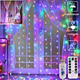 GHodec Colorful Curtain String Lights,300 LED USB Powered Fairy Twikle Lights for Bedroom,Wall...