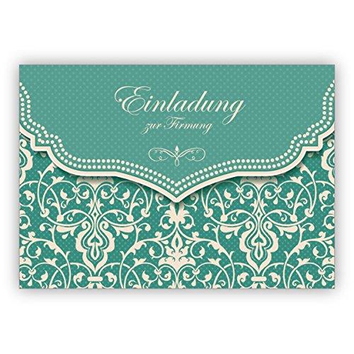 Hübsche Einladungskarte mit Vintage Damast Muster in edlem Hellblau Türkis für junge Damen: Einladung zur Firmung • hübsche hochwertige Grusskarte mit Umschlag für nette Grüsse