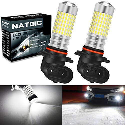 NATGIC 9006 HB4 LED Ampoules antibrouillard Blanc xénon 3000LM 3014 SMD 144-EX avec projecteur à lentille pour feu antibrouillard extérieur, 12-24V (Lot de 2)