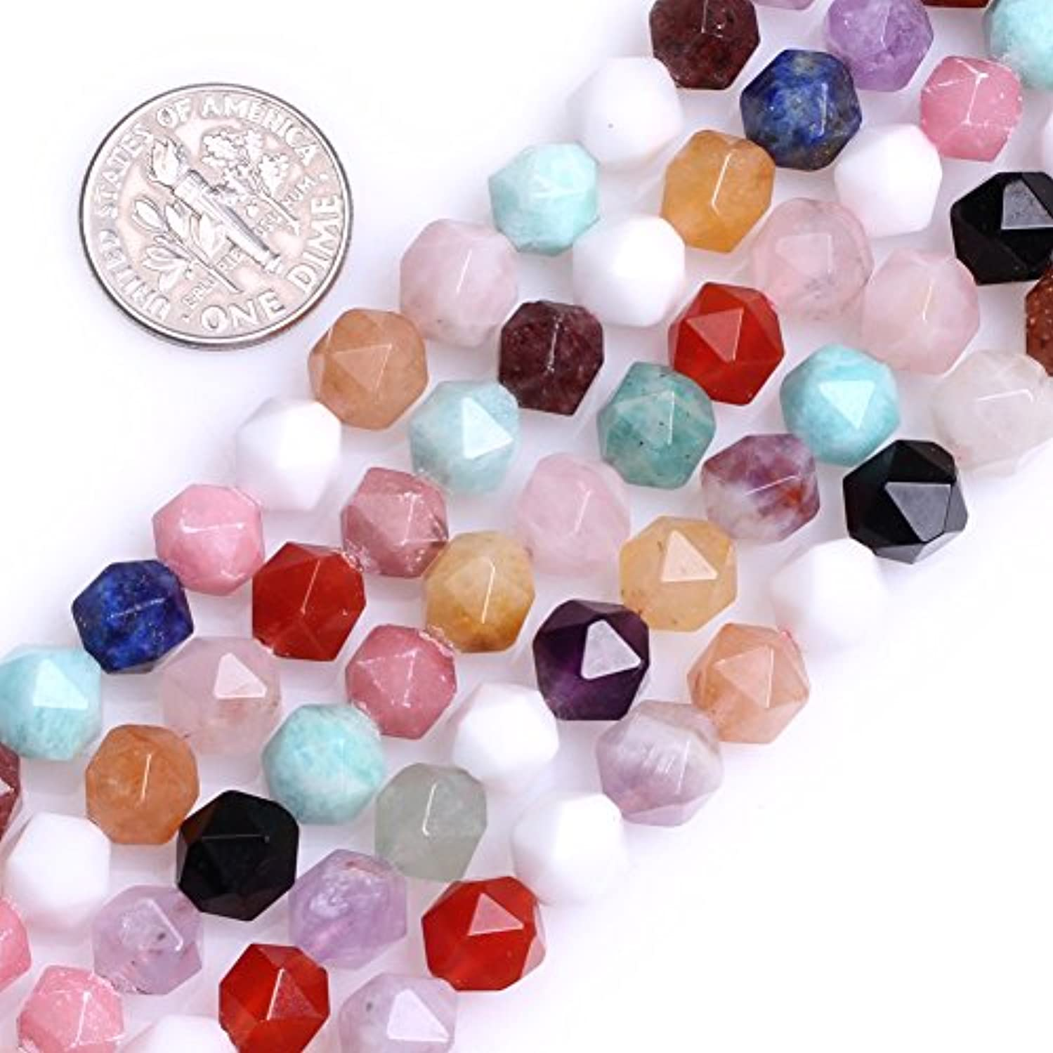 GEM-Inside Multicolor Gemstone Loose Beads Natural 8mm Faceted Semi Precious Cambay Stone Power for Jewelry Making 15