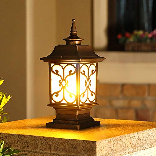 ZSAIMD LED Poste al aire libre de poste de luz de la linterna del accesorio de iluminación, lámpara de cristal cubierta de aluminio Plus LED de aluminio for el patio del jardín poste Pilar Monte paisa