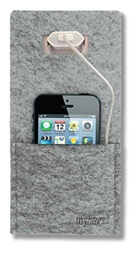 Mybagzz Handy Ladetasche, Ladestation aus Filz Grau meliert für Handys, Smartphones und Digitalkameras