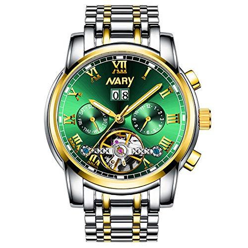 Nuevo Reloj de Negocios de Moda para Hombres, Reloj mecánico automático Hueco tourbillon multifunción-B