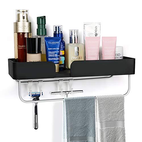 Cesta de ducha con estante para taladrar y adhesivo autoadhesivo, aluminio, acabado mate, con 4 ganchos para toallas, color negro