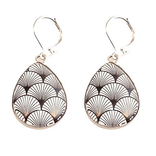 Boucles d'oreilles dormeuse goutte, géométrie japonaise noir et blanc, acier inoxydable argent