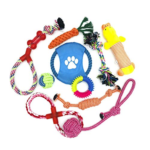 WeFine Puppy Dog Chew Toys Teething Training,10pcs Dog Rope Toys 100% Natural Cotton Rope for...