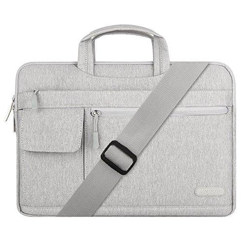 MOSISO Laptop Schultertasche Kompatibel mit 15 Zoll MacBook Pro mit Touch Bar A1990/A1707 2016-2019, 14 Zoll ThinkPad Chromebook, Polyester Flapover Messenger Aktentasche Handtasche, Grau