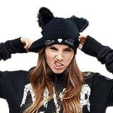 NW 1776 Sombrero de Mujer Gato Oreja Ganchillo Trenzado de Punto Gorras Snowboard Caliente...