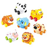 Baby Friction Cars 7 Adorable Wheelie Animal Push and Go Vehicles in 1 Set Lovely Gift for 18 Months+ Toddler Boys Girls