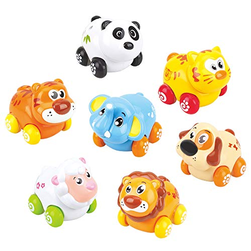 ANIKI TOYS Friction Powered Cars, Push and Go Vehicles, Adorable Animal Farm Zoo Toy, 7 Cars in a set, lovely Gift for 1 2 3 4 Years Old Girls Boys Toddlers Kids