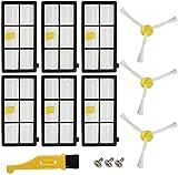 Piezas de Repuesto para iRobot Roomba | Ugardo | Series 800 805 850 860 861 866 870 871 880 890 900 960 961 964 980 981 985 | Accesorios para Aspiradoras | 6 Filtros y 3 Cepillos Laterales