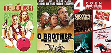 The Ultimate Cult Classics Of The Coen Brothers: The Big Lebowski (Limited Pop Art Slip Cover) & O Brother, Where Art Thou? & Miller's Crossing/ Raising Arizona/ Blood Simple/ Fargo DVD- Movie Set
