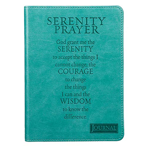 Christian Art Gifts Teal Faux Leather Journal, Encouraging Serenity Prayer, Handy-sized Flexcover Inspirational Notebook w/Ribbon Marker, 240 Lined Pages, Gilt Edges, 5.5 x 7 Inches