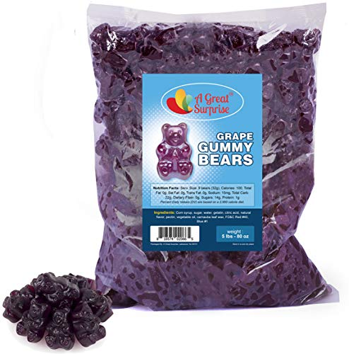Gummy Bears Bulk - Purple Gummie Bears - Grape Gummies - Gummi Bears Purple - Purple Candy - Bulk Candy 5 LB