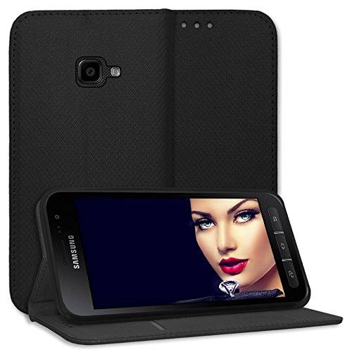 mtb more energy® Schutz-Tasche Bookstyle für Samsung Galaxy Xcover 4, 4S (SM-G390F, G398F / 5.0'') - schwarz - Kunstleder - Klapp-Cover Hülle Hülle