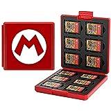 Etui kompatibel Für Nintendo Switch,Tragbar & Dünn, Schutzhülle Aufbewahrungsbox Spiele Cards Tasche,mit 12 Spiele Schlüssel + 12 TF Schlüssel (Mario/Red)