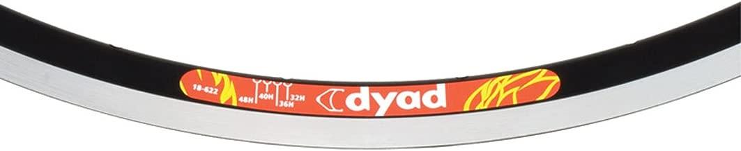 Velocity Dyad Clincher Machined Sidewall Bicycle Rim - Black 700C 32H - 3600m-62232