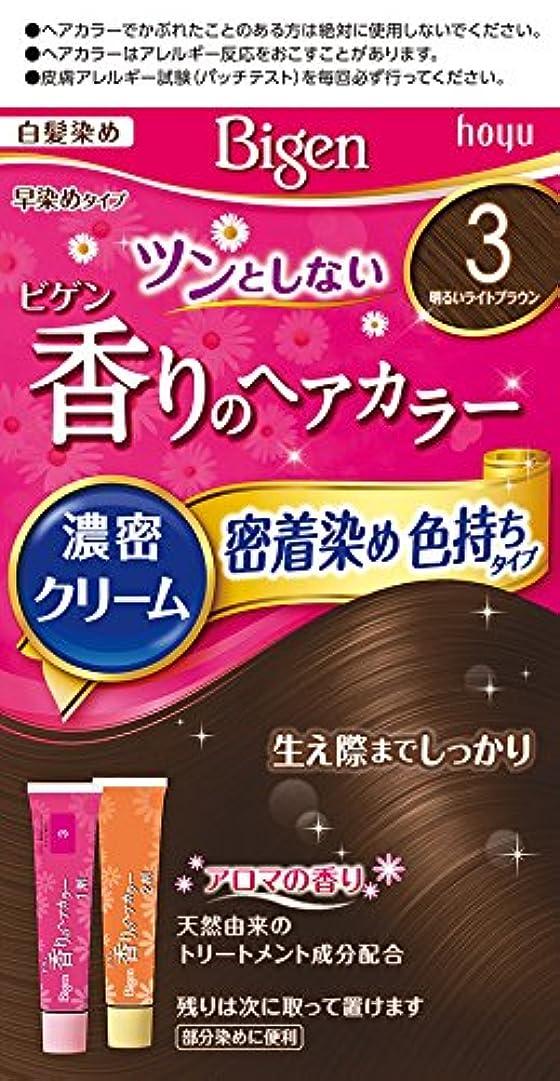 シード満足こっそりホーユー ビゲン香りのヘアカラークリーム3 (明るいライトブラウン) 1剤40g+2剤40g [医薬部外品]