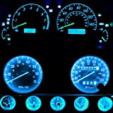 WLJH Bright Ice Blue Instrument Cluster Panel Gauge Speedometer Tachometer Oil Pressure Fuel Temp Clock Indicator Bulb Full Led Light Kits Replacement For Jeep Wrangler 1987-1991