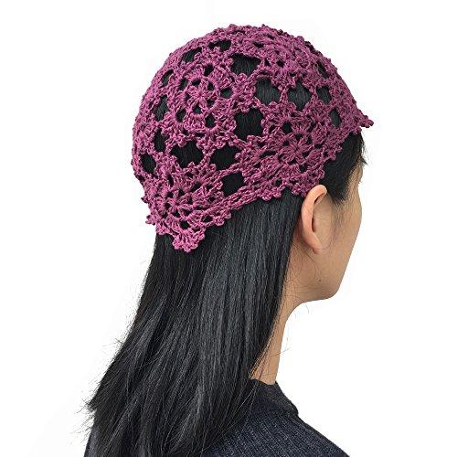 Handgefertigte Häkelmützen für Damen, Sommer, Blumenmuster, Strickmütze aus Baumwolle, Damen, violett, One Size