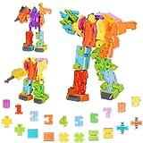 10 en 1 Juguetes de Dinosaurios Robot para niños, 22 PCS numeros Transformers Juguetes Dinos/Robots, Juguetes de Educativos para Niños 6 a 12 Años