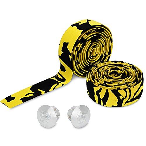 Topcabin® Camouflage-Serie, Bequeme Gel-Lenkerbänder für Rennräder, mit reflektierenden Lenkerendkappen, Yellow (a pair)