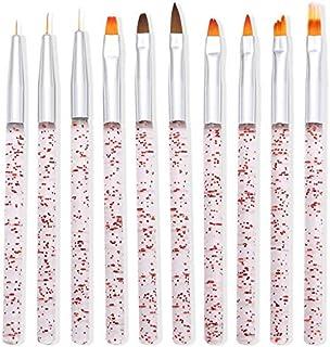 Lidiper Juego de 10 Pinceles de Uñas, Brochas para Uñasde Cepillo de Delineador de Uñas UV Diseño de Arte Uñas de Gel Pint...