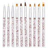 Lidiper 10 Pezzi Pennelli per Unghie Gel Professionali, Pennelli per Nail Acrilico Spazzola per Ricostruzione Unghie gel UV Nail Art Penna Strumento Chiodo per Nail Art Design